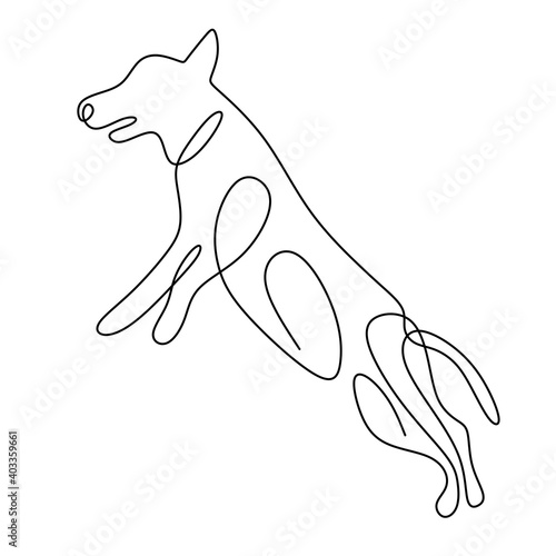 Obraz Hound dog one continuous line drawing on white background. Funny doggy is standing pose. The concept of wildlife, pets, veterinary. Hand drawn minimalism style vector illustration. Friendly pet icon - fototapety do salonu