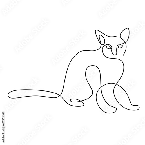Obraz Minimalist cats in abstract hand drawn style. One line drawing of cute cat animals isolated on white background. Love pet concept. Vector illustration. Doodle animals icons minimalistic line art. - fototapety do salonu