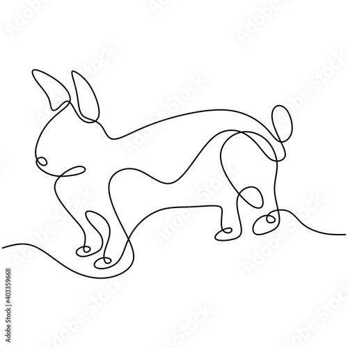 Obraz Hare continuous one line drawing. Easter bunny rabbit jumping in the garden isolated on white background. Cute pet animals concept. Vector minimalistic hand drawn illustration - fototapety do salonu