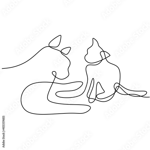 Obraz Continuous one line drawing of two dog minimalism style. Purebred hound dog mascot concept for pedigree friendly pet icon. The concept of wildlife, pets, veterinary. Vector illustration - fototapety do salonu