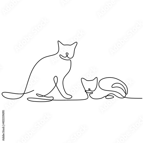 Continuous one line drawing of two cats in minimalism style. Cute cat animals mascot concept for pedigree friendly pet icon. The concept of friendly, pets, veterinary. Vector illustration