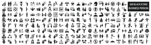 Obraz Business person pictogram set for various scenes - fototapety do salonu