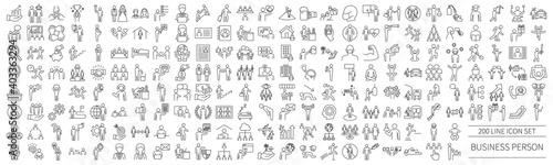 Fototapeta Business person pictogram set for various scenes obraz
