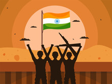Illustration Of Silhouette Army Officers With Indian Flag On Sun Desert Background.