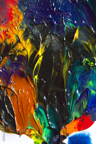 Fototapety, obrazy: close up colorful Decalcomania with paint