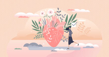 Eco Love As Green And Ecological Thinking Human Heart Tiny Person Concept
