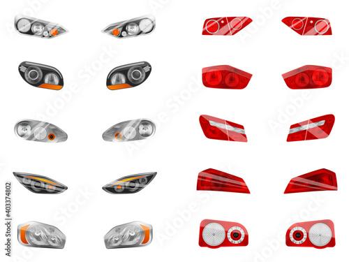 Fototapeta Auto Lights Realistic Collection obraz na płótnie