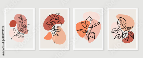 Botanical wall art vector set. Earth tone boho foliage line art drawing with  abstract shape.  Abstract Plant Art design for wall framed prints, canvas prints, poster, home decor, cover, wallpaper.