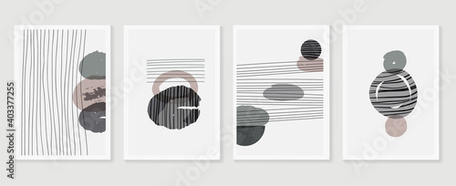 Fototapeta Abstract wall arts vector collection.  Earth tones Hand drawn organic shape art design for wall framed prints, canvas prints, poster, home decor, cover, wallpaper.  obraz