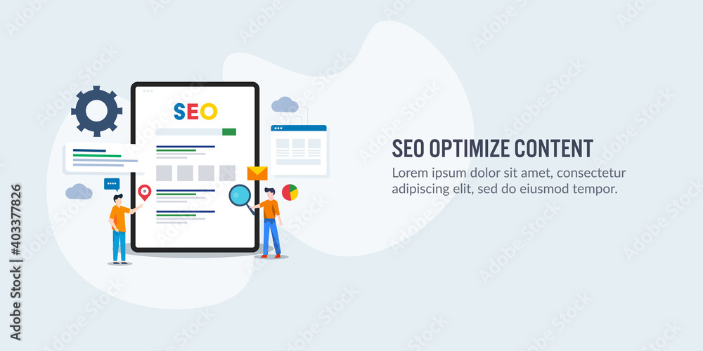 Fototapeta Content optimization for better search engine ranking on web. Seo optimized content driving traffic to website, marketing team working on seo solution.
