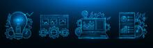 SEO Optimization Low Poly Design. Search Engine Optimization. Smartphone, Laptop, Browser Window, Light Bulb, Gears, Speedometer, Statistics Data Polygonal Vector Illustration