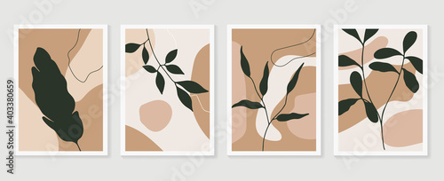 Abstract wall arts vector collection.  Earth tones Hand drawn organic shape art design for wall framed prints, canvas prints, poster, home decor, cover, wallpaper.