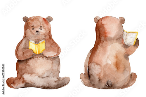 Foto Two bears read yellow books; watercolor hand drawn illustration; with white isol