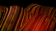 Abstract 3D Technology Concept. Big Data And Artificial Intelligence Represented As A High Tech Futuristic Flow Line Waves. Abstract Background. 3D Render