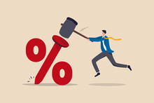Federal Reserve Low Interest Rate Or Central Bank With Long Time Zero Percent Interest Rate Until Economic Recover Concept, Businessman FED Leader Using Hammer To Nailed Percentage Sign To The Floor.