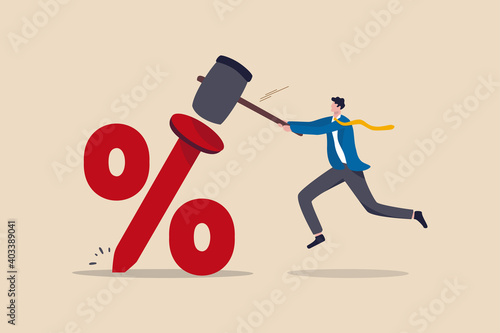 Obraz na płótnie Federal Reserve low interest rate or central bank with long time zero percent interest rate until economic recover concept, businessman FED leader using hammer to nailed percentage sign to the floor