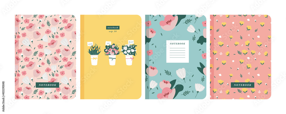 Fototapeta Vector illustartion templates cover pages for notebooks, planners, brochures, books, catalogs. Flowers wallpapers.
