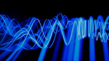 Sound Wave Vizualisation Concept. Music Audio Frequencies Represented As High Tech Futuristic Flow Line Waves. Abstract Background. 3D Render