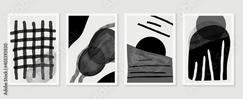 Black and white abstract wall arts vector. Hand draw Organic shape design for wall framed prints, canvas prints, poster, home decor, cover, wallpaper. Vector illustration