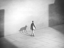 Surreal Illustration Of Homeless Man And His Dog Walking, Surreal Abstract Concept