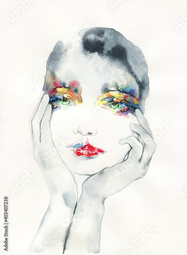watercolor illustration. female portrait. illustration.