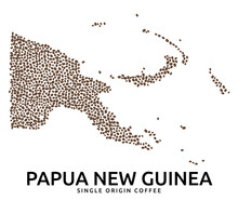 Shape Of Papua New Guinea Map Made Of Scattered Coffee Beans, Country Name Below