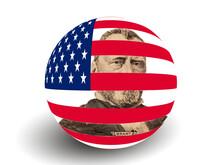 Portrait Of U.S. President Ulysses S. Grant With USA Flag Globe