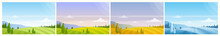 Cartoon Panoramic Countryside Natural Scenery, Farmland Fields On Hills, Forest On Horizon In Summer Spring Autumn Winter Background. Nature Landscape In Different Seasons Vector Illustration Set.