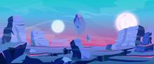 Alien Planet Landscape, Fantasy Purple Rocks Land Relief, Satellites Planets In Sky
