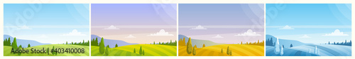 Cartoon panoramic countryside natural scenery, farmland fields on hills, forest on horizon in summer spring autumn winter background Wallpaper Mural