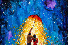 Dreamlike Oil Painting Couple In Love With Umbrella In Winter Starry Night Acrylic Watercolor Painting - Fantasy Art