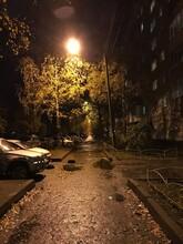 Autumn Street Lamp Rain Sidewalk House Night