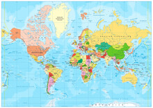 Highly Detailed Political World Map With Labeling