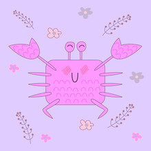 Cute Crab With A Blush On A Background Of Twigs And Flowers. Cartoon Emotional Sea Animal. Vector Illustration