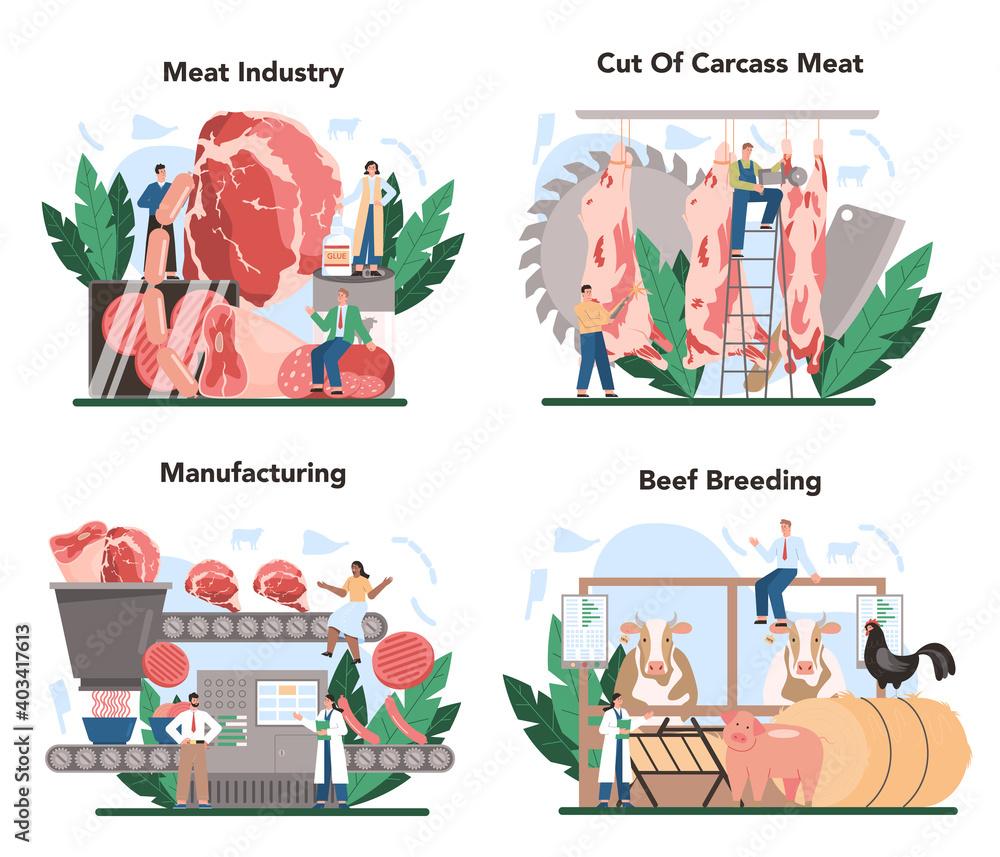 Fototapeta Meat production industry concept set. Butcher or meatman factory