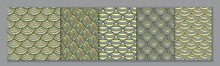 Set Of 5 Traditional Japanese Wave Crest Seamless Patterns, Gray And Gold. Geometric Minimal Doodle Repeat Patterns Collection.