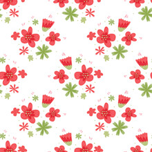 Isolated Seamless Pattern With Simple Creative Red And Green Flowers Silhouettes On White Backround.