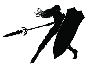Silhouette of a female knight with a huge tower shield and a long beautiful spear in a dynamic action pose, she has long hair, she is in plate armor, her eyes glow in the dark. 2d illustration