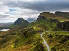 Mountain Scenery, Quiraing Landslip, Isle Of Skye, Inner Hebrides, Scotland, United Kingdom, Europe