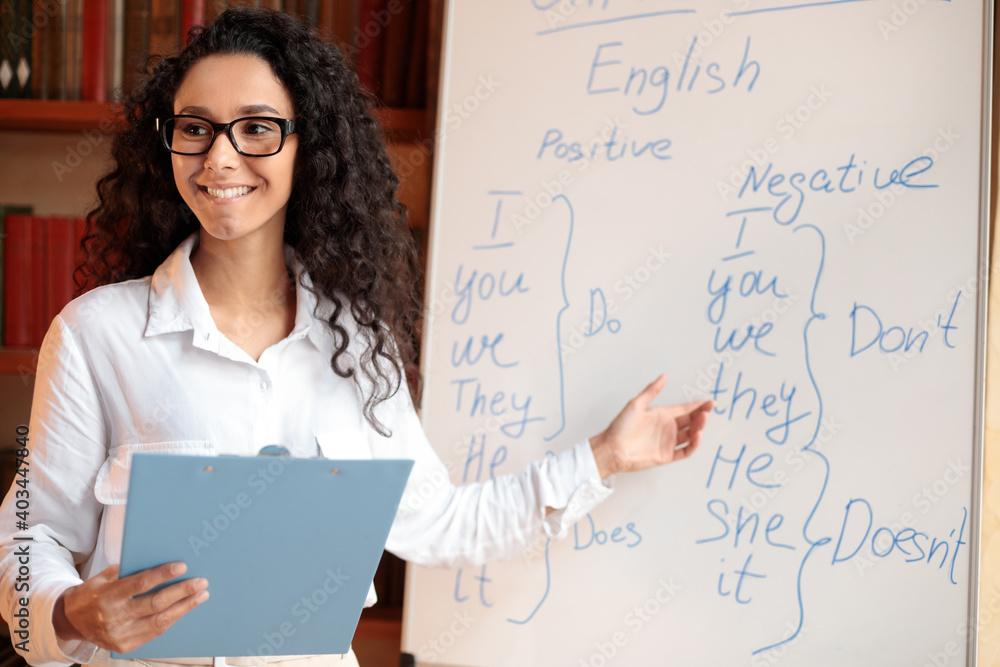 Fototapeta Smiling female teacher pointing at whiteboard, explaining rules