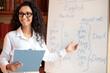 Leinwandbild Motiv Smiling female teacher pointing at whiteboard, explaining rules