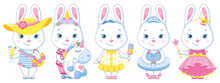 White Rabbit Paper Doll Characters Set