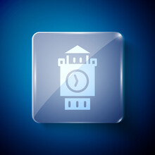 White Big Ben Tower Icon Isolated On Blue Background. Symbol Of London And United Kingdom. Square Glass Panels. Vector.