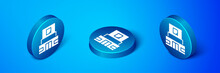 Isometric Mausoleum Of Lenin Icon Isolated On Blue Background. Russia Architecture Landmarks, Sightseeing Places. Royal Citadel At Red Square, Moscow. Blue Circle Button. Vector.