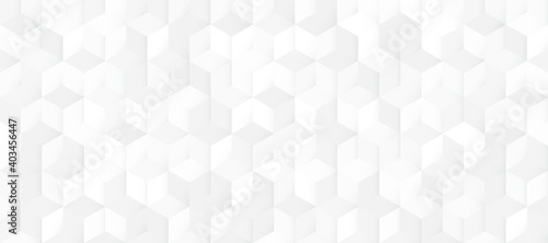Fototapeta Abstract seamless white and grey square 3D pattern background