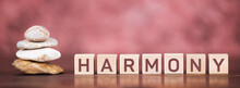Balance Stones With Harmony Text Letter Cubes. Panoramic Web Banner.