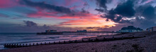 A Panorama Of A Fiery Sunset Display Above The Shore And Sea At Worthing, Sussex, UK