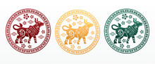 Chinese New Year Ox Symbol. Year Of The Ox Chinese New Year Ox Symbol. Year Of The Ox Character, Flower And Asian Elements With Craft Style