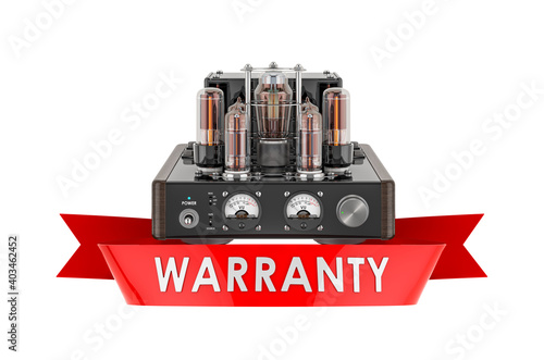 Papel de parede Electronic amplifier warranty concept. 3D rendering