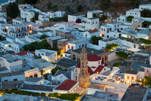 Dusk And Rooftops, Lindos, Rhodes Island, Dodecanese Islands, Greece